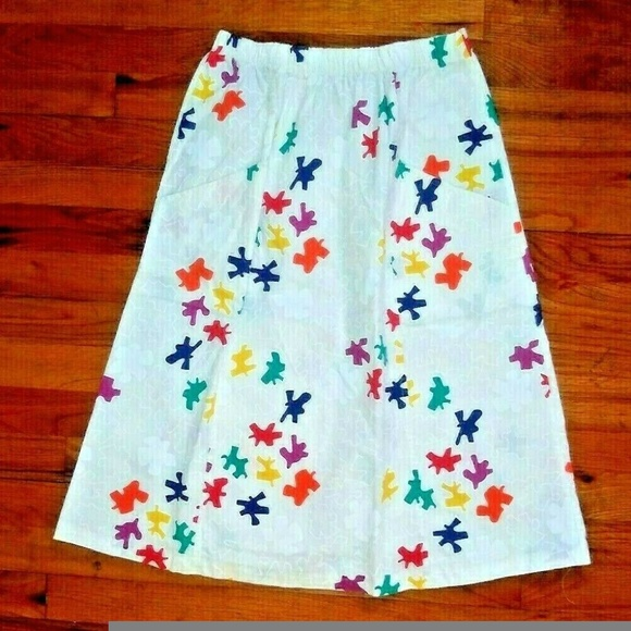 Jon Albert Dresses & Skirts - White cotton skirt multicolor print Jon Albert VTG